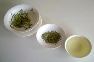 Different types of green tea.