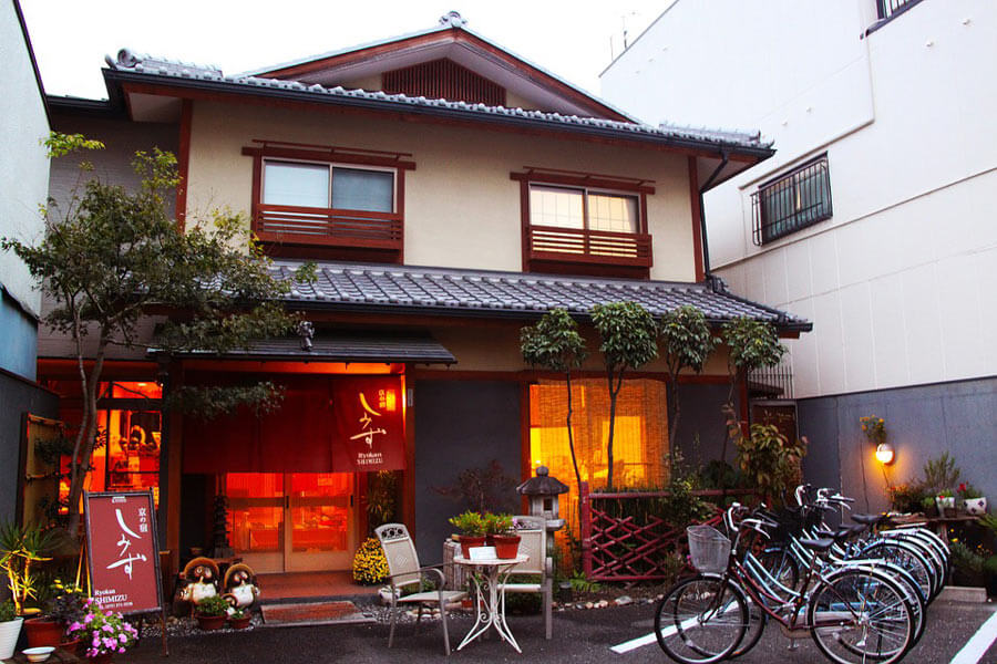 A traditional Japanese ryokan from the outside.