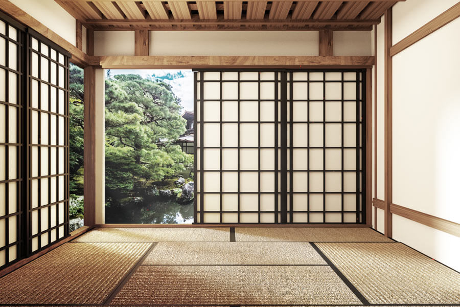 A Japanese room with tatami mats.