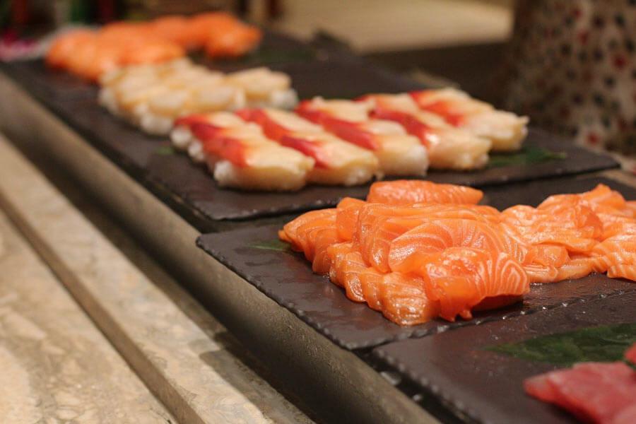 Thin-cut sashimi slices.